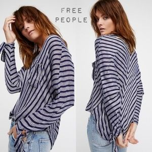 Free People striped pocket row sleeve blouse Small